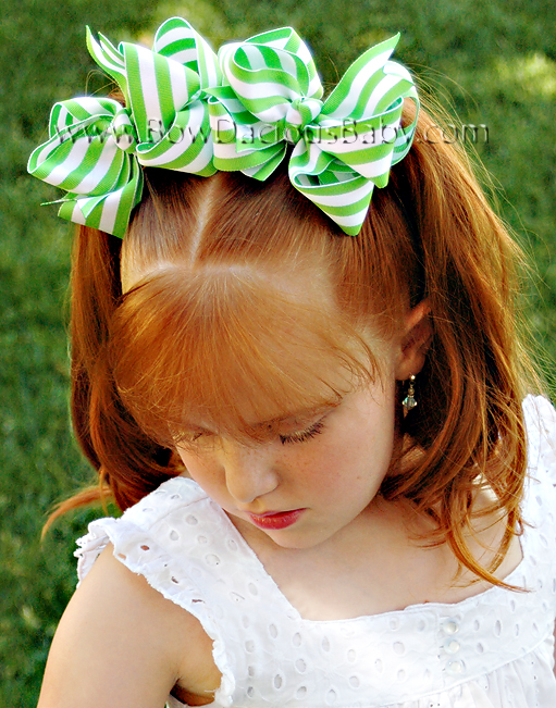 *Loopie Chic Boutique Hair Bows in Stripes Knot Center, Color Choices