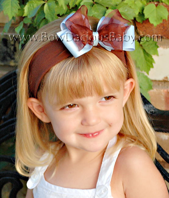Classic Grosgrain Organza Boutique Headband, Color Choices