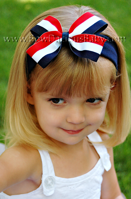 Classic Boutique Headband in Stripes Plain Center Regular or Mini, Color Choices