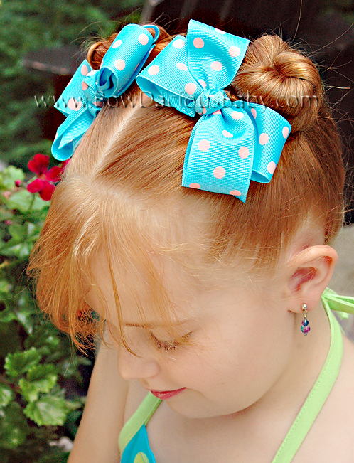 Classic Boutique Hair Bows in Polka Knot Center, Color Choices