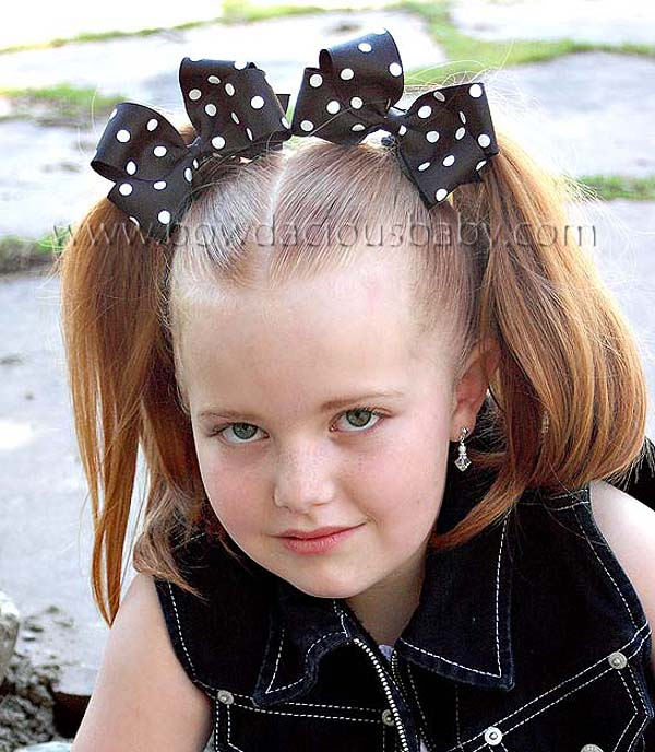 Classic Boutique Hair Bows in Polka Plain Center, Color Choices