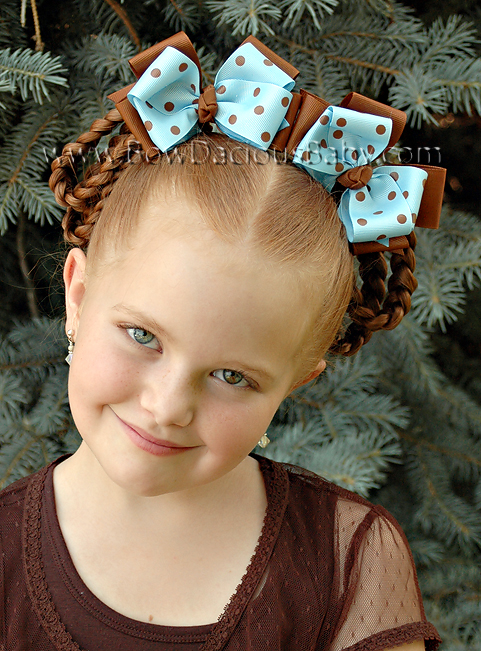 Classic Boutique Hair Bows Layered in Solid and Polka Knot Center, Color Choices