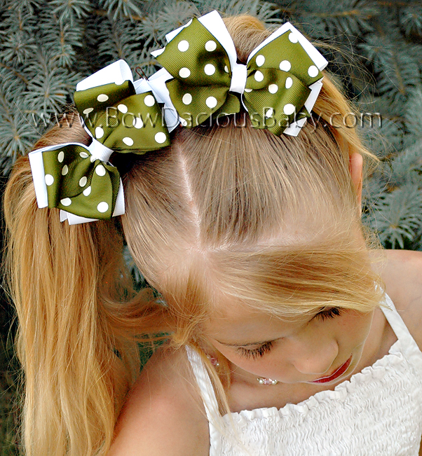 Classic Boutique Hair Bows Layered in Solid and Polka Plain Center, Color Choices