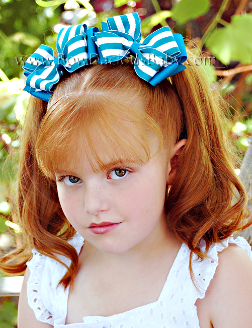 Classic Boutique Hair Bows in Solid and Stripes Plain Center, Color Choices