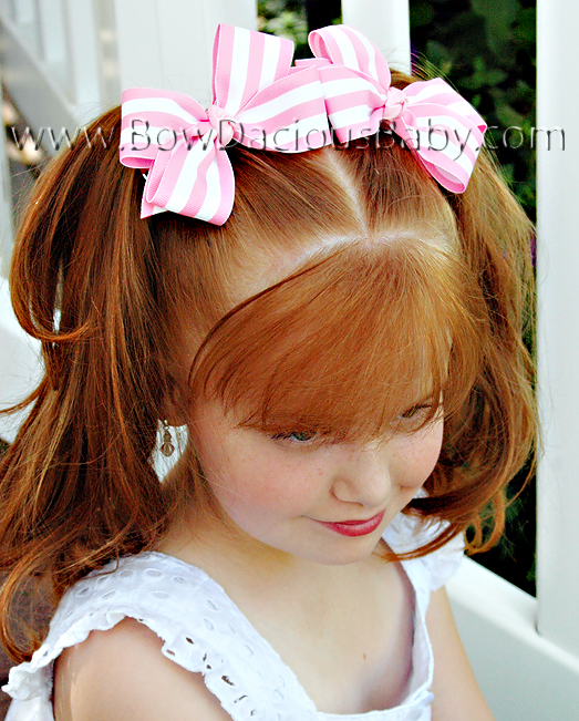 Classic Boutique Hair Bows in Stripes Knot Center, Color Choices