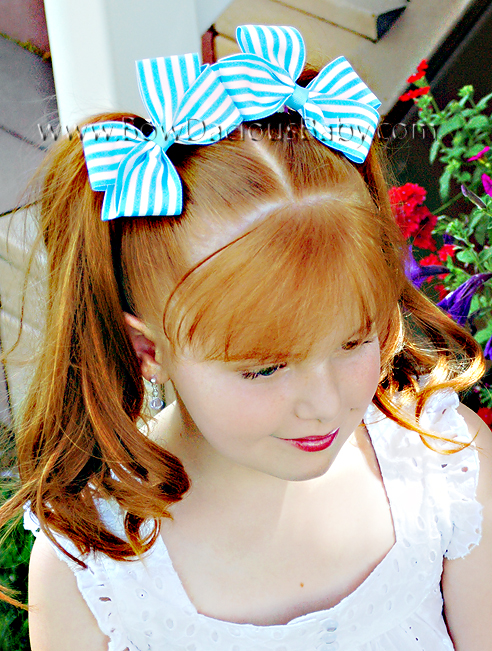 Classic Boutique Hair Bows in Stripes Plain Center, Color Choices