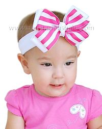 Classic Headband Layered in Solid and Stripes Knotted Center, Color Choices