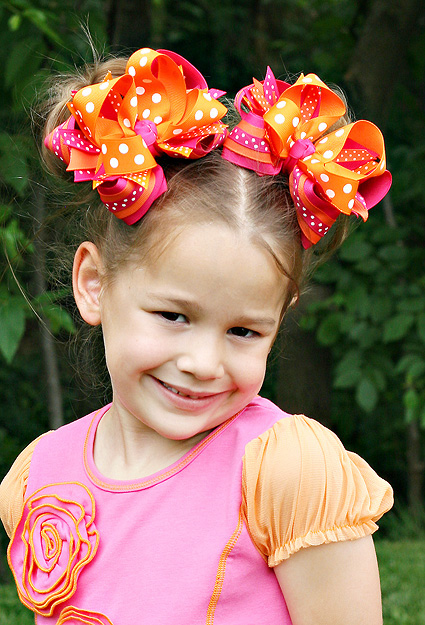 Shocking & Orange DIVA Boutique Hair Bows or Headband