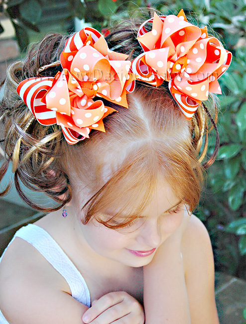 Orange Dreamsicle DIVA Boutique Hair Bows or Headband