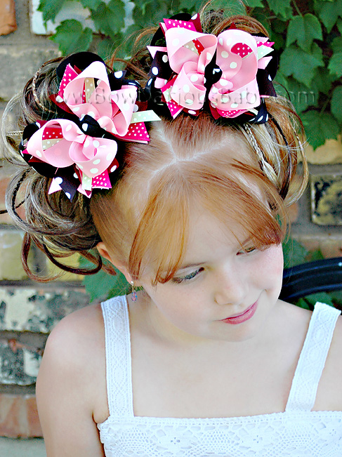 Pink and Black DIVA Boutique Hair Bows or Headband