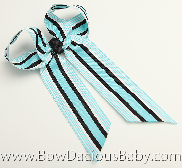 Aqua and Black Ella Bow Big Girl Ponytail Hairbow