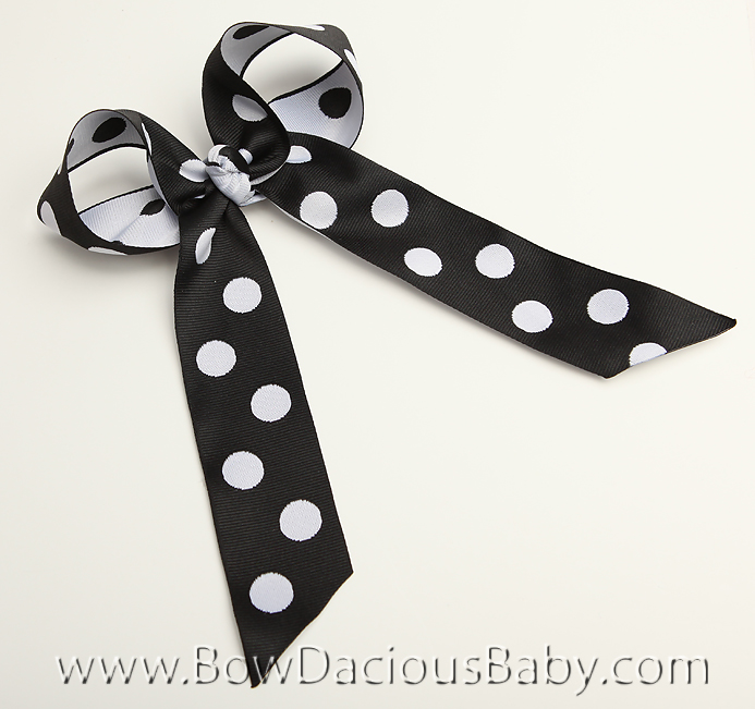 Black and White Reversible Dots Ella Bow Big Girl Ponytail Hairbow