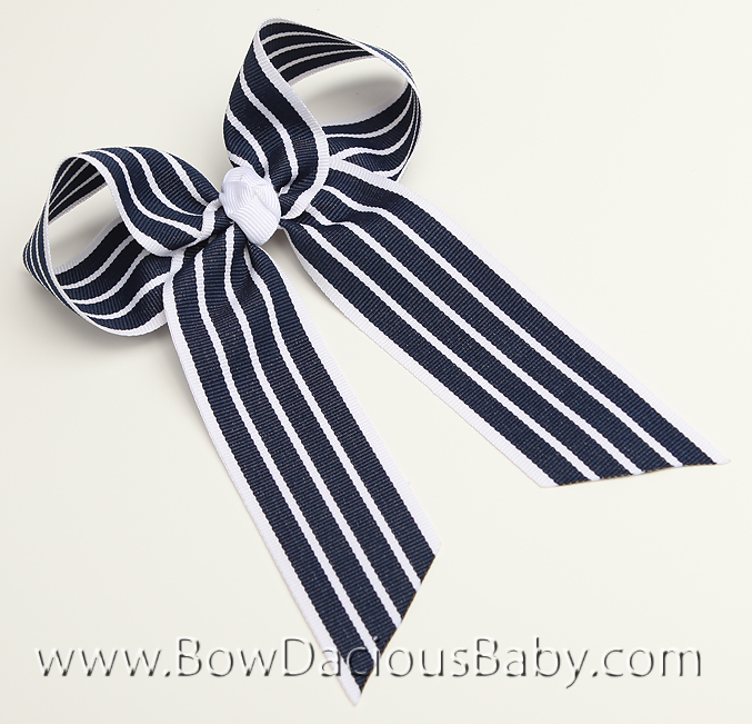 Black with White Preppy Stripe Ella Bow Big Girl Ponytail Hairbow