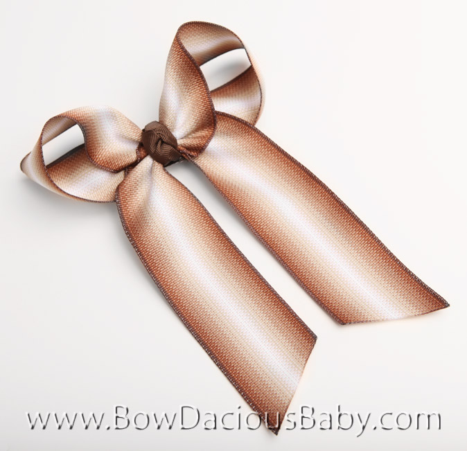 Brown Fade Ella Bow Big Girl Ponytail Hairbow