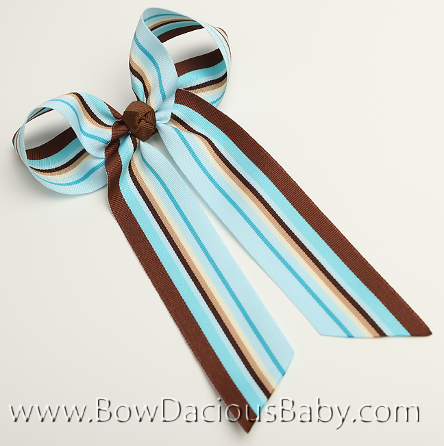 Chocolate and Aqua Ella Bow Big Girl Ponytail Hairbow
