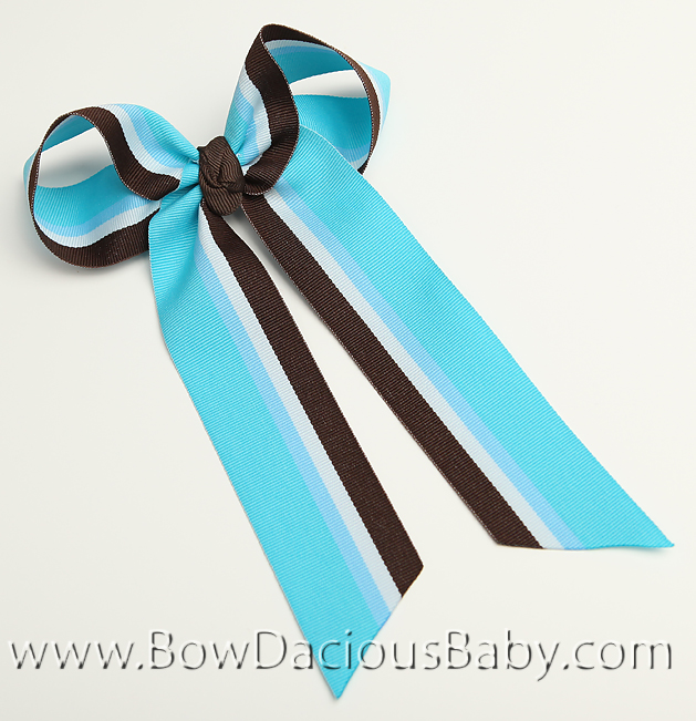 Chocolate Blueberry Ella Bow Big Girl Ponytail Hairbow