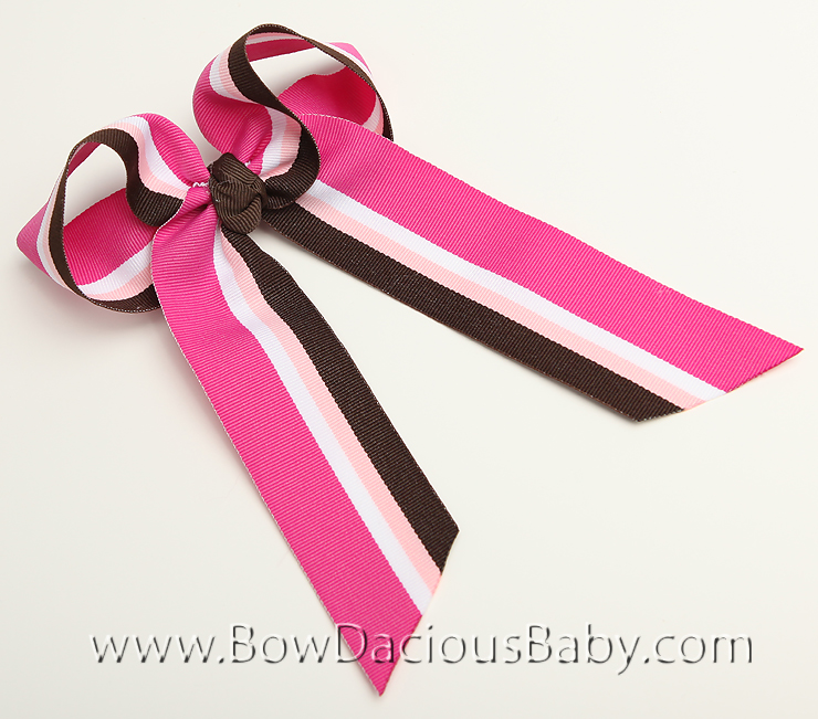Chocolate Rapsberry Ella Bow Big Girl Ponytail Hairbow