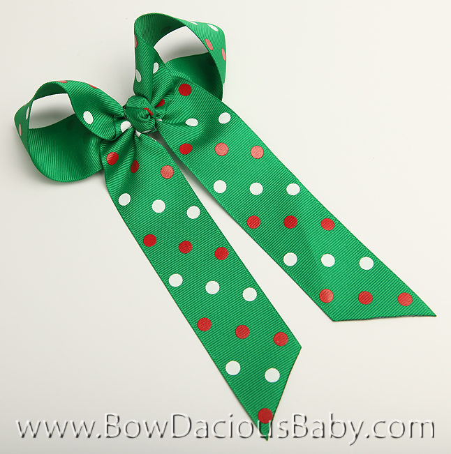 Christmas Polkas Ella Bow Big Girl Ponytail Hairbow