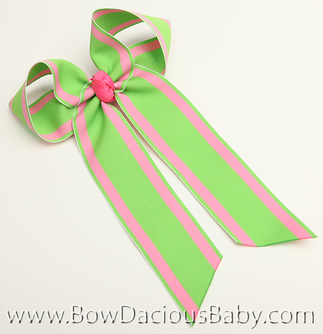 Hot Pink and Apple Ella Bow Big Girl Ponytail Hairbow