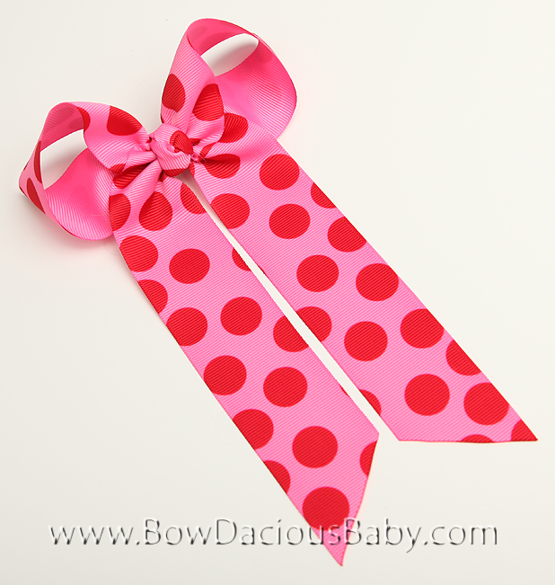 Retro Polka Ella Bow Big Girl Ponytail Hairbow
