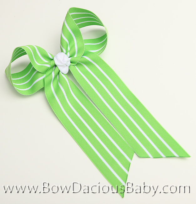 Lime with White Stripes Ella Bow Big Girl Ponytail Hairbow