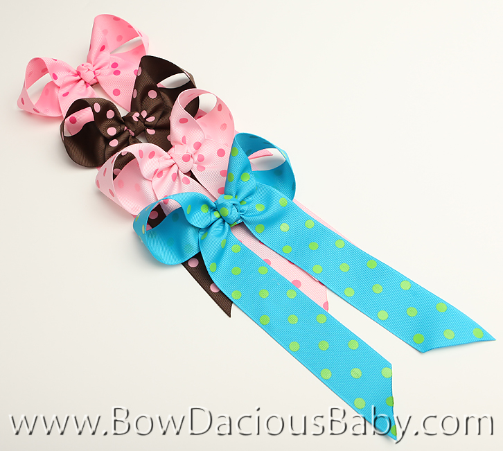 *Custom Colored Polka Ella Bow Big Girl Ponytail Hairbow, You Pick the Color