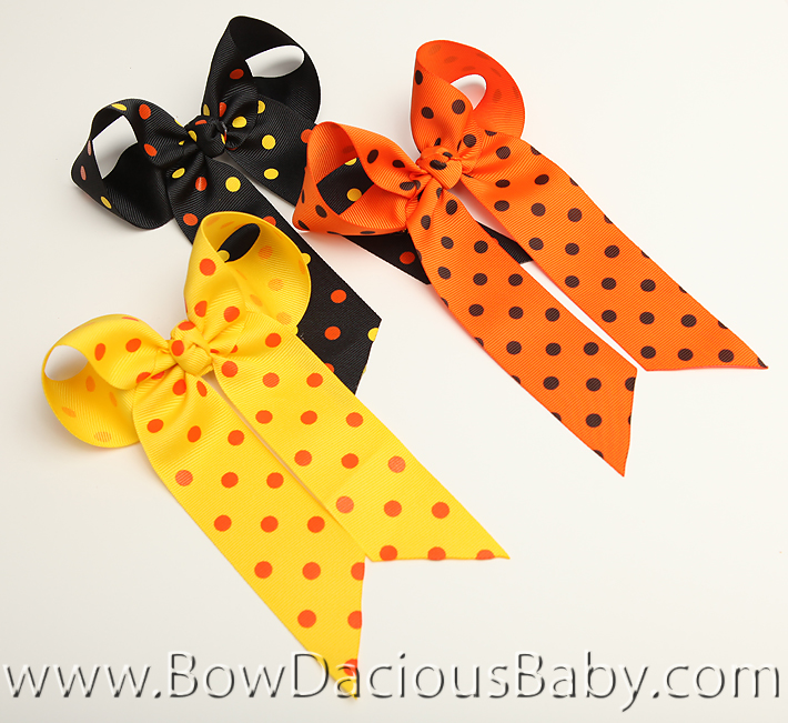 Halloween Polkas Ella Bow Big Girl Ponytail Hairbow