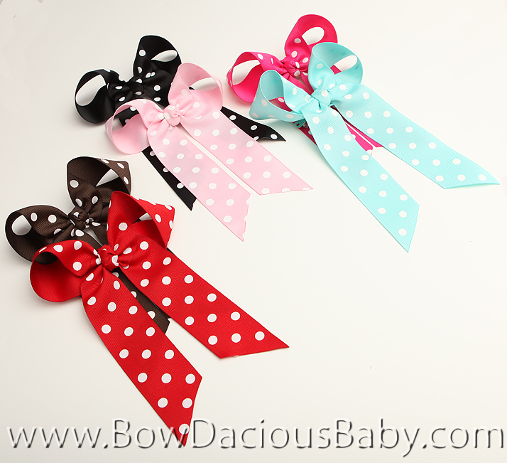 *Custom Polka Ella Bow Big Girl Ponytail Hairbow, You pick the color