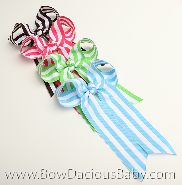 *Custom Stripes Ella Bow Big Girl Ponytail Hairbow, You pick the color