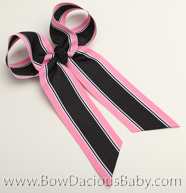 Shocking and Black Preppy Ella Bow Big Girl Ponytail Hairbow