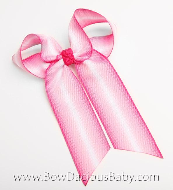Pink Fade Ella Bow Big Girl Ponytail Hairbow