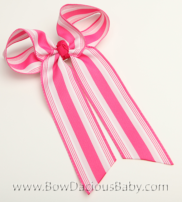 Pinks Preppy Ella Bow Big Girl Ponytail Hairbow