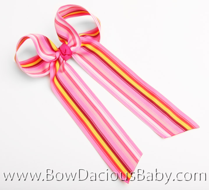 Pinks Stripe Ella Bow Big Girl Ponytail Hairbow