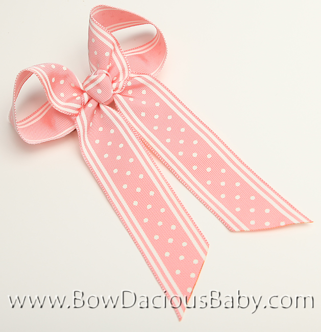 Polka Stripe Pink Ella Bow Big Girl Ponytail Hairbow