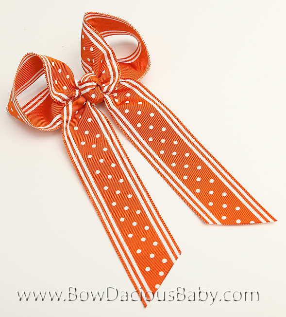 Polka Stripe Pumpkin Ella Bow Big Girl Ponytail Hairbow