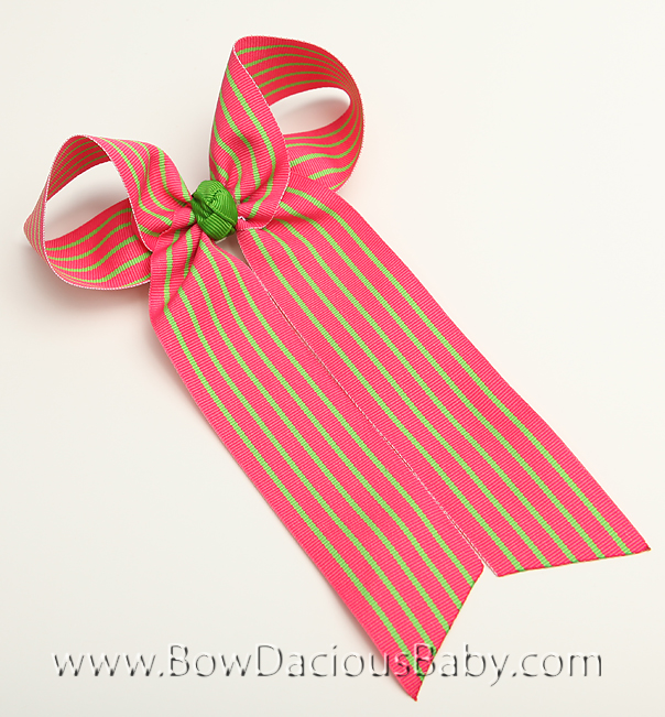 Shocking with Lime Stripe Ella Bow Big Girl Ponytail Hairbow