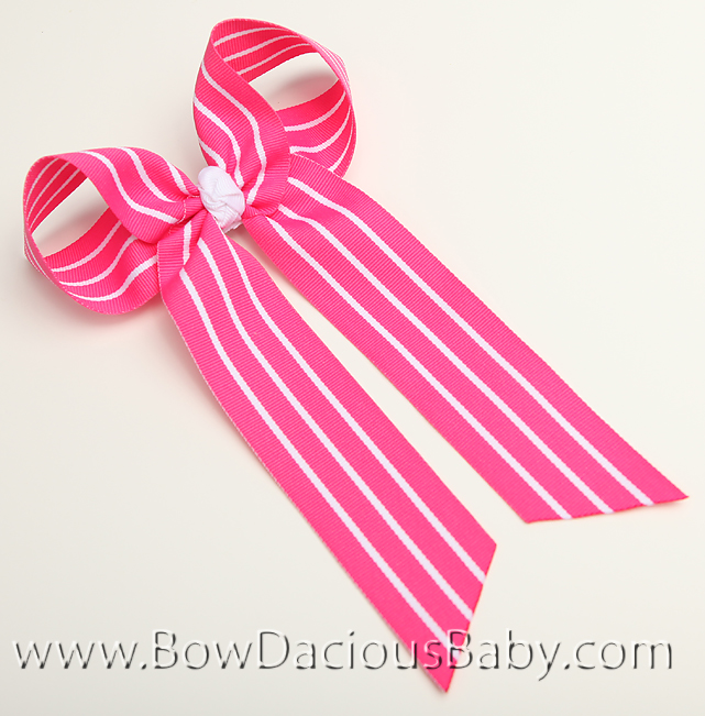 Shocking with White Stripes Ella Bow Big Girl Ponytail Hairbow