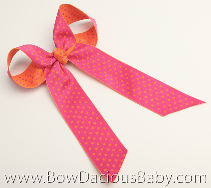 Shocking and Orange Reversible Polkas Ella Bow Big Girl Ponytail Hairbow