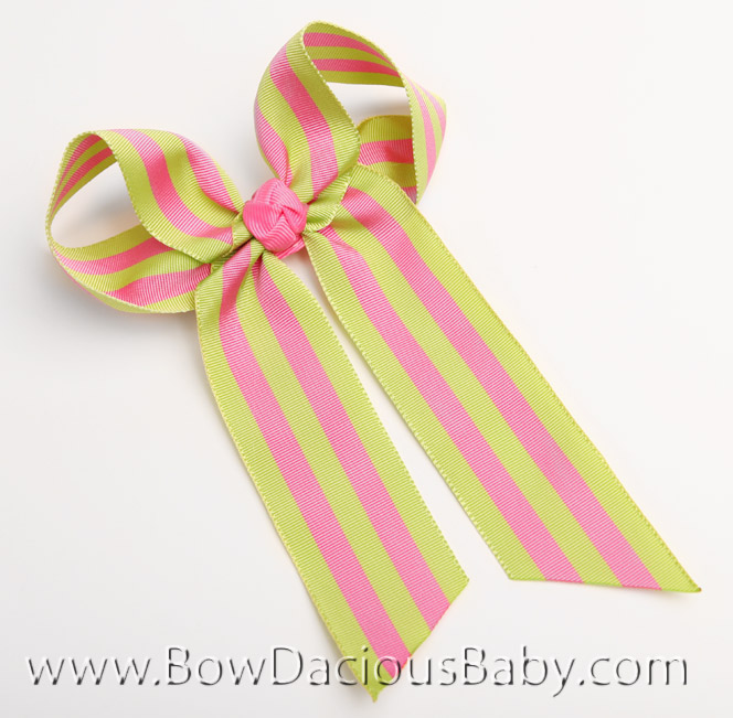 Watermelon Stripe Ella Bow Big Girl Ponytail Hairbow