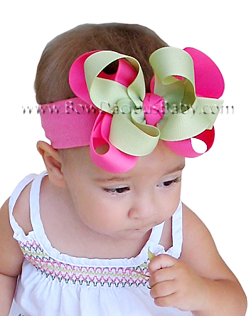 Emma Bow Headband Double Layer Double Color Knot Center, Color Choices