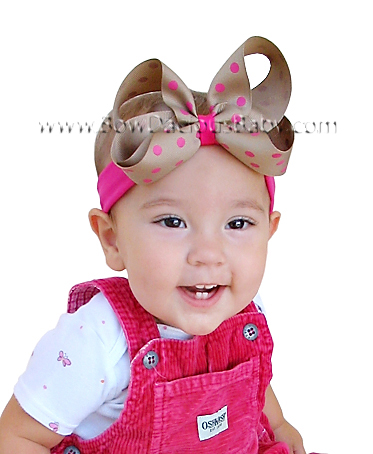 Emma Bow Boutique Headband Polka Plain Center, Color Choices