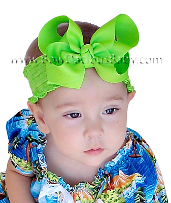 Emma Bow Boutique Headband Solid Ruffle Band Knot Center, Color Choices