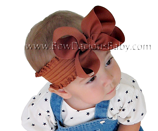 Emma Bow Boutique Headband Ruffle Band Plain Center, Color Choices