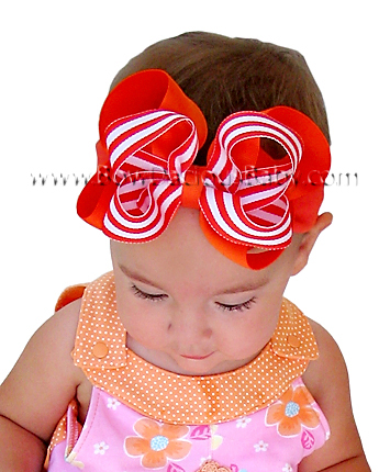 Emma Bow Boutique Headband Double Layered Solid and Stripe Plain Center, Color Choices