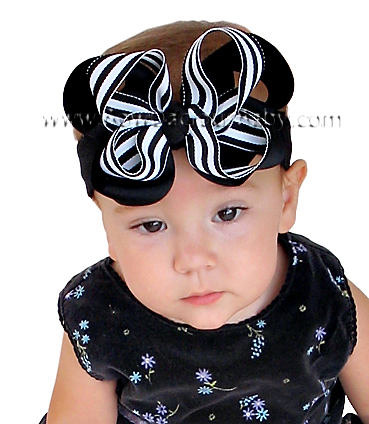 Emma Bow Boutique Headband in Solid and Stripes Knot Center, Color Choices