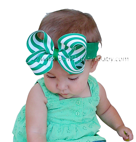 Emma Bow Boutique Headband Stripes Plain Center, Color Choices