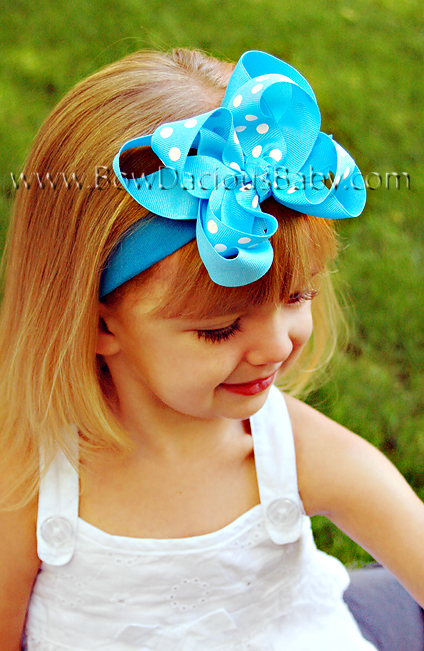Emma Bow Boutique Headband Solid and Polka Knot Center, Color Choices