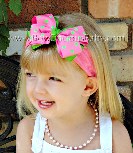 Classic Boutique Headband Layered in Solid and Polka Knot Center Regular or Mini, Color Choices