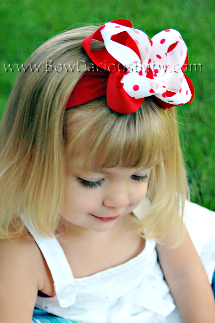 Emma Boutique Headband Solid & Polka Plain Center, Color Choices