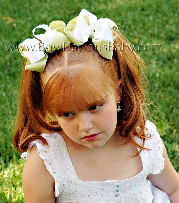 Emma Bow Boutique Hair Bows Double Color Plain Center, Color Choices